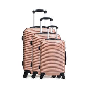 Sada 3 cestovných kufrov vo farbe ružového zlata na kolieskach Hero Jasmine