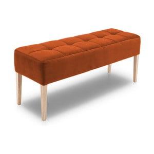 Oranžová lavica s dubovými nohami Jakobsen home Marino, dĺžka 132 cm