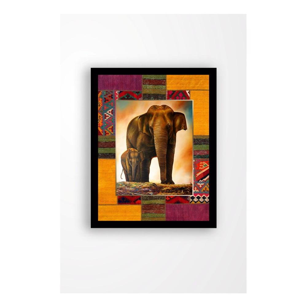Nástenný obraz na plátne v čiernom ráme Tablo Center Elephant Family, 29 × 24 cm