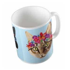 Keramický hrnček Butter Kings Cat With Flowers, 330 ml
