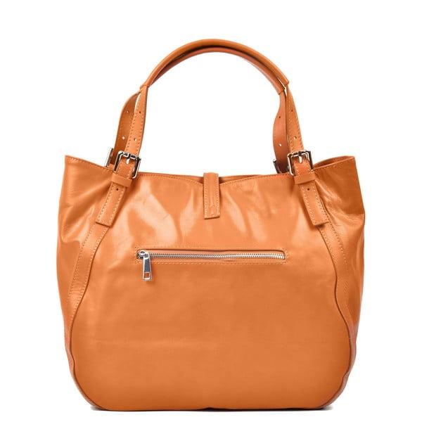 Svetlokoňakovo hnedá kožená kabelka Carla Ferreri Eva