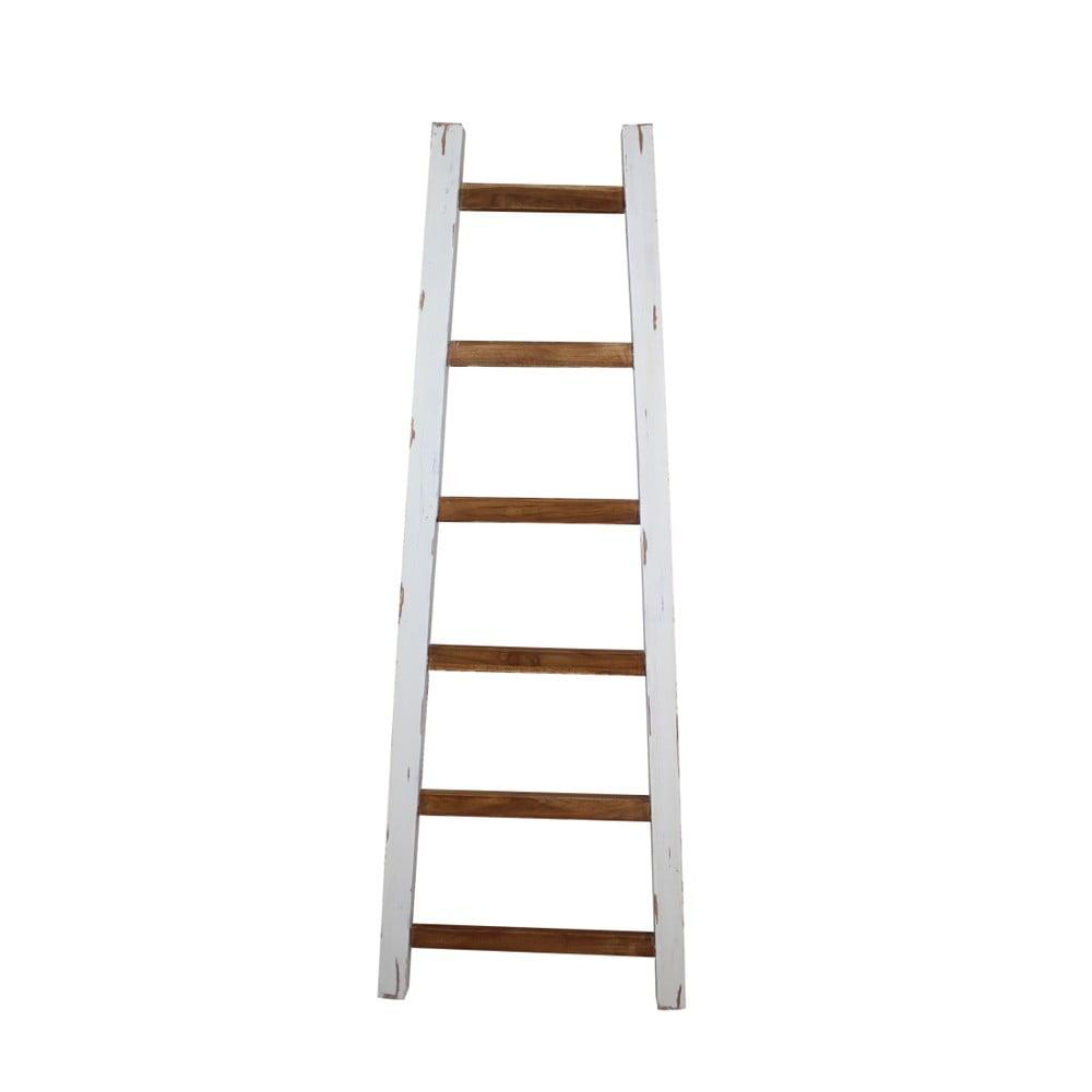 Biely dekoratívny rebrík z teakového dreva HSM Collection Tangga, dĺžka 150 cm