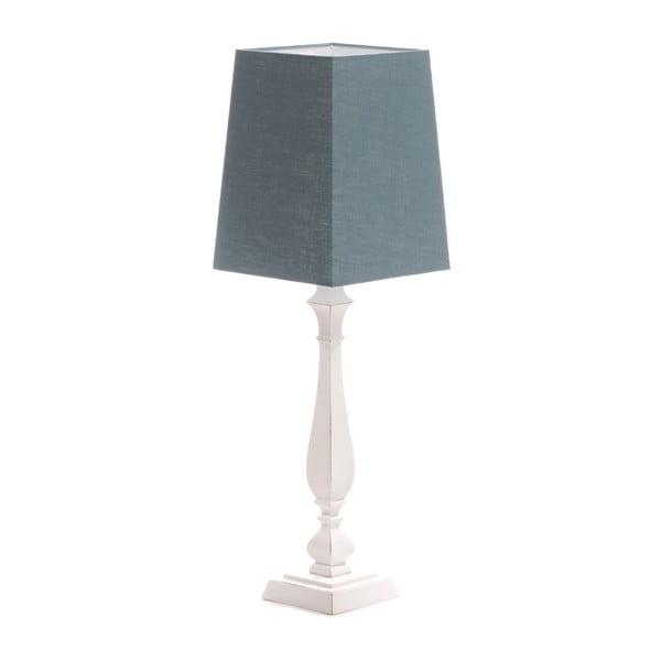 Modrá stolová lampa Tower, biela lakovaná breza, 20 x 20 cm