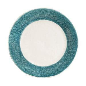 Kameninový tanier s tmavomodrým detailom Côté Table Lisere, ⌀26 cm