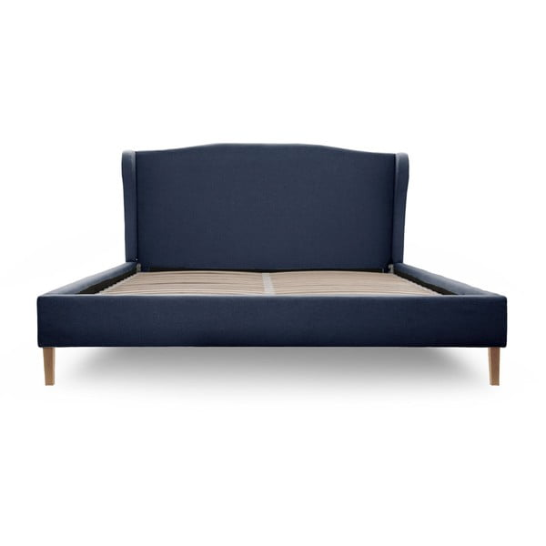 Tmavomodrá posteľ s prírodnými nohami Vivonita Windsor 180x200cm