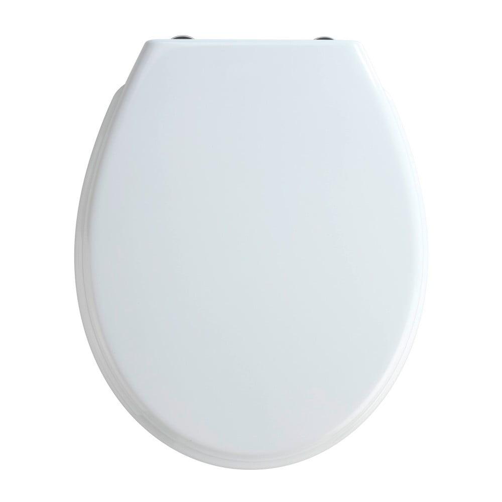 Biele WC sedadlo s jednoduchým zatváraním Wenko Bilbao, 44,5 x 37 cm