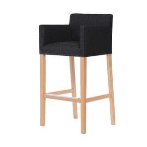 Čierna barová stolička s hnedými nohami Ted Lapidus Maison Sillage