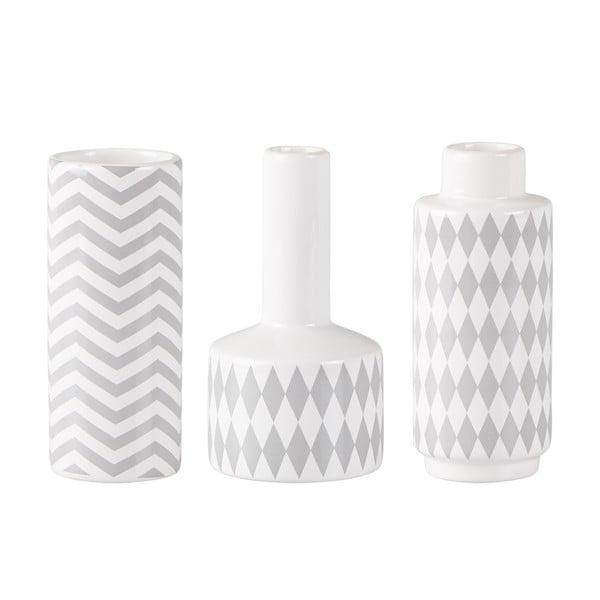 Sada 3 keramických Sivo-bielych váz KJ Collection Niels