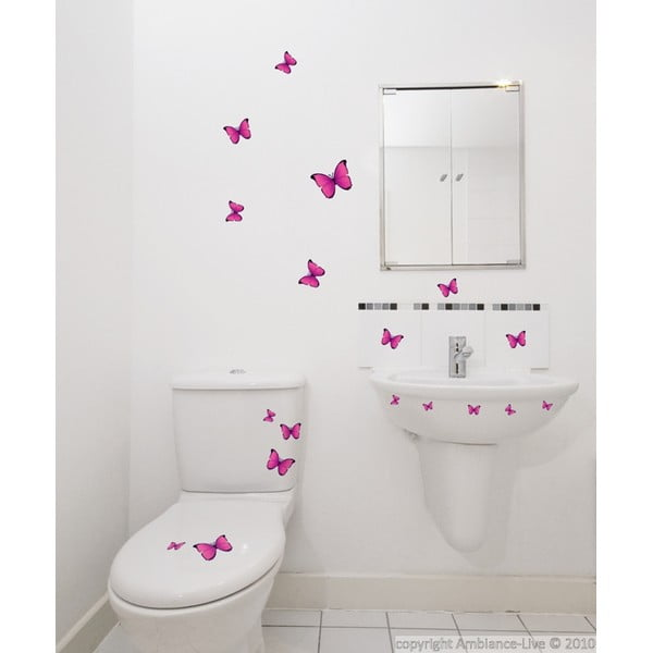 Sada 18 samolepiek Fanastick Pink Butterflies