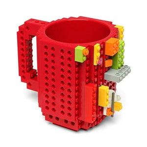 Červený plastový hrnček s motívom LEGO s kockami Just Mustard, 350 ml