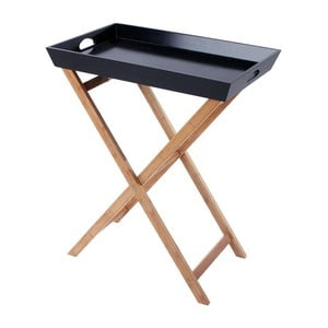 Drevený stolík s táckou Black/Natural, 60x40x74 cm