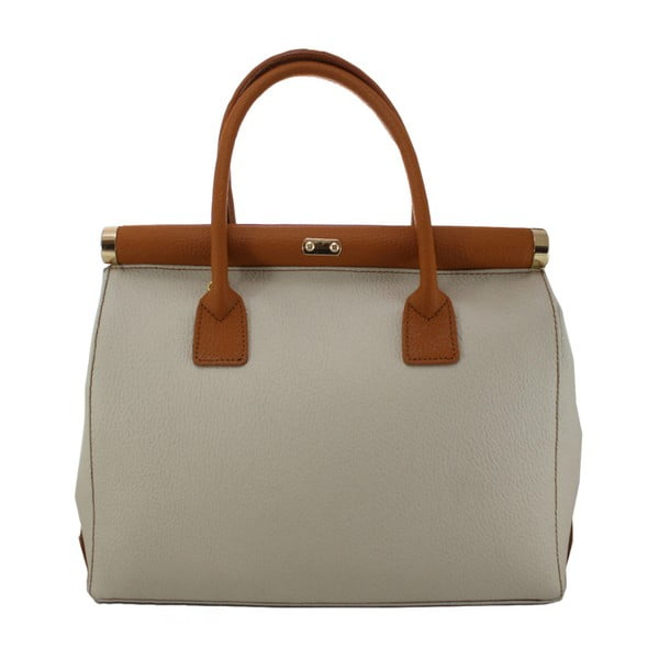 Béžová kožená taška Chicca Borse Blair