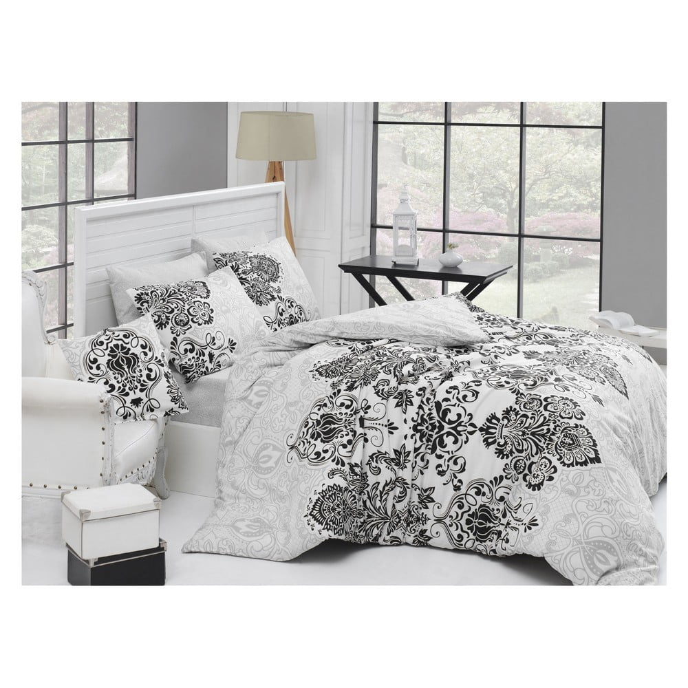 Čierno-biele bavlnené obliečky s plachtou na jednolôžko Orient, 140 × 200 cm