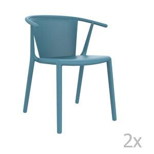 Sada 2 modrých záhradných stoličiek Resol Steely