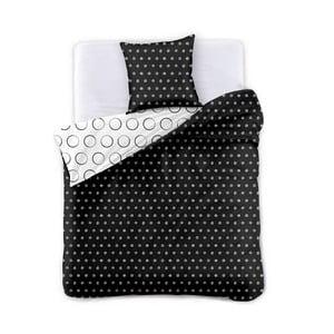 Čierno-biele obojstranné obliečky na dvojlôžko z mikrovlákna DecoKing Hypnosis Dark Night, 220 x 200 cm
