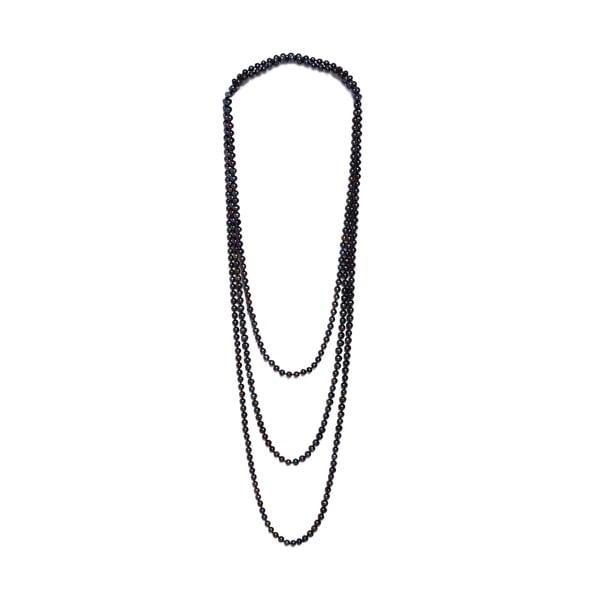 Dlhý náhrdelník z riečnych periel GemSeller Ajuga, čierne perly