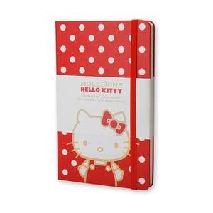 Malý červený zápisník Moleskine Hello Kitty, bezlinajok