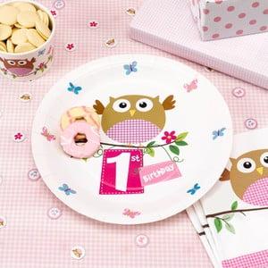 Sada 8 papierových tanierov Neviti Little Owls 1st Birthday