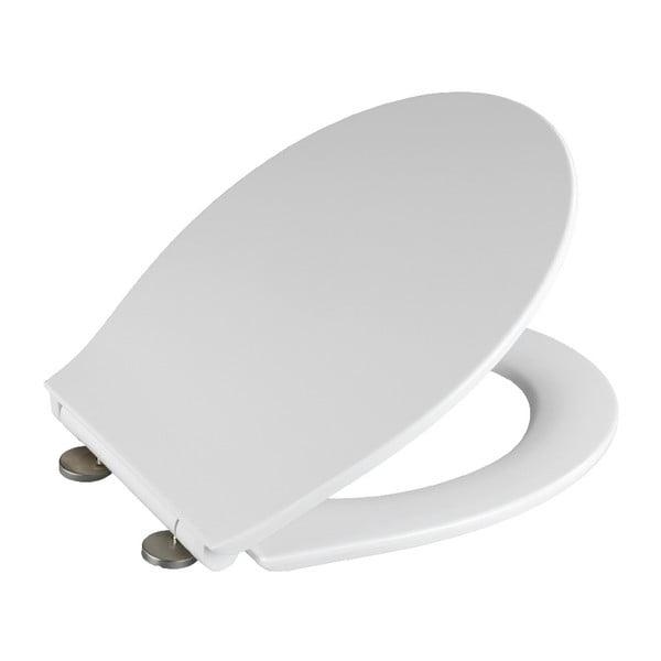 Biele WC sedadlo s jednoduchým zatváraním Wenko Orani, 44 × 38 cm