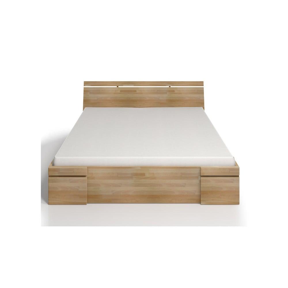 Dvojlôžková posteľ z bukového dreva so zásuvkou Skandica Sparta Maxi, 200 × 200 cm