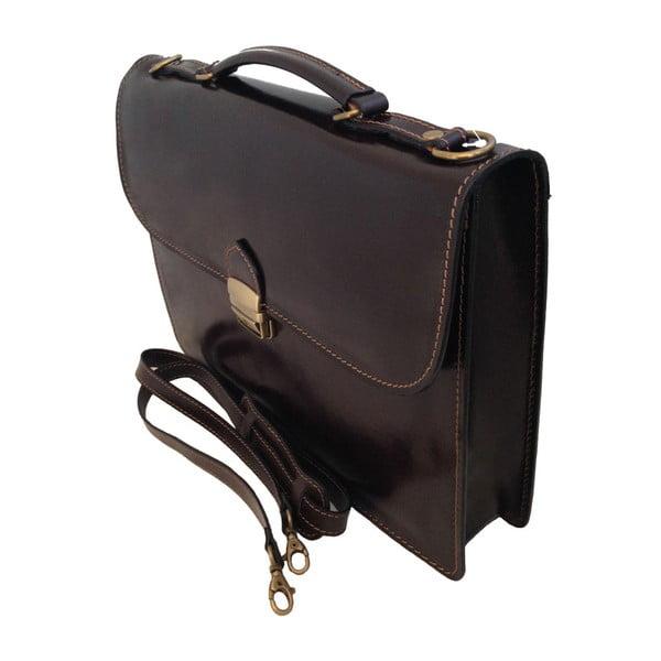 Tmavohnedá kožená taška Irene