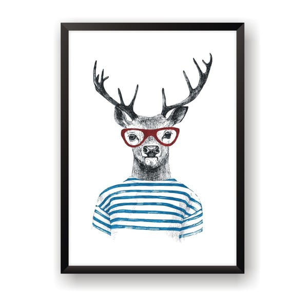Plagát Nord & Co Deer With Glasses, 40 x 50 cm