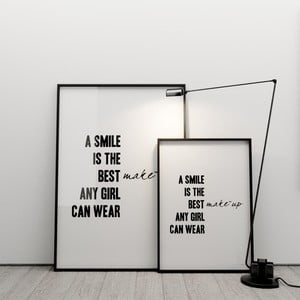 Plagát A smile is the best make up any girl can wear, 50x70 cm