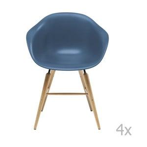 Sada 4 modrých jedálenských stoličiek s podnožou z bukového dreva Kare Design Forum