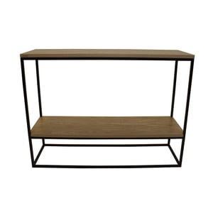 Čierny konzolový stolík s doskou z dubového dreva Take Me HOME Plock, 100×30cm