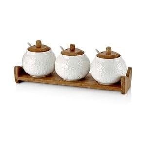 Sada 3 porcelánových dóz s dreveným podnosom a lyžičkami Paul, 33 × 11 × 13 cm