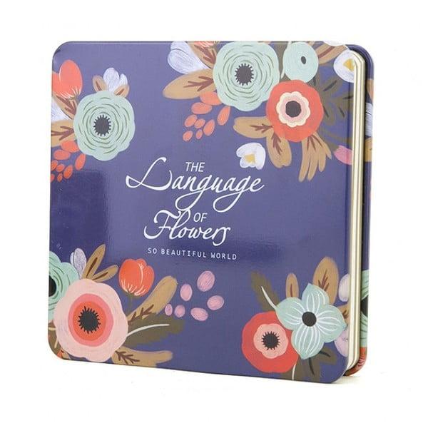 Plechový zápisník Flower, modrý