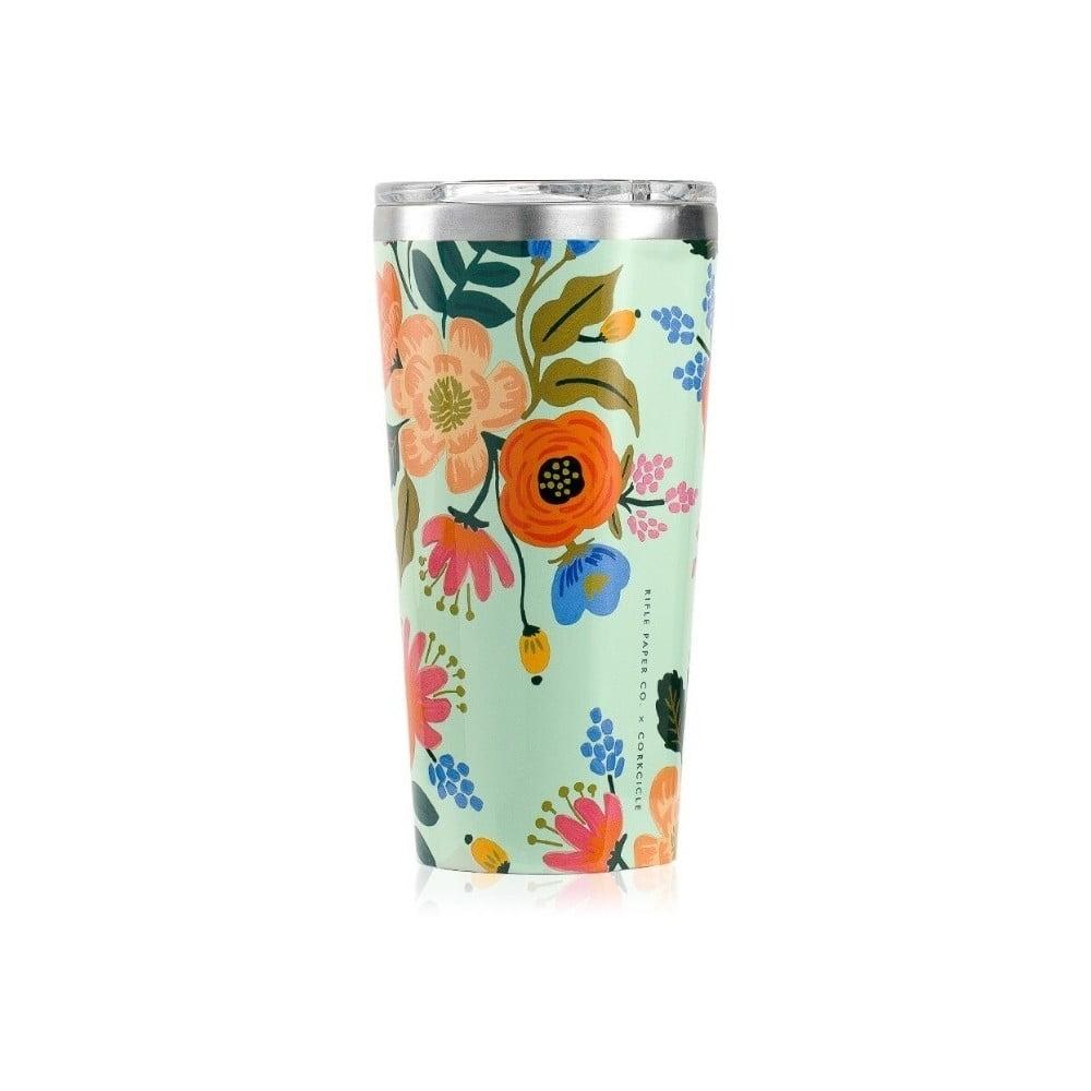 Cestovný hrnček z antikoro ocele Corkcicle Tumbler Floral, 470 ml