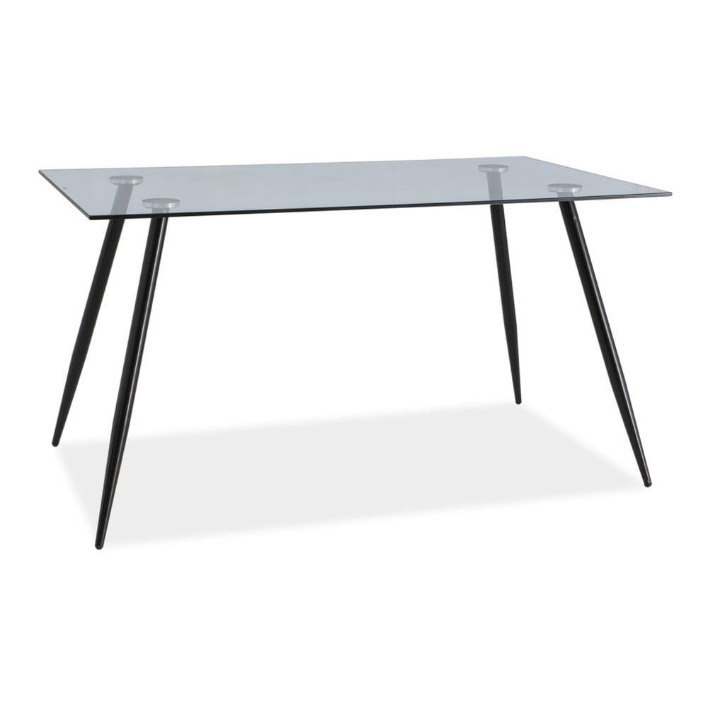 Jedálenský stôl s oceľovou konštrukciou a sklenenou doskou Signal Nino, dĺžka 140 cm
