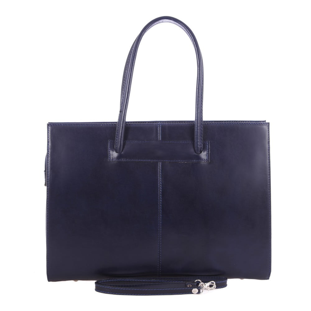 Modrá kožená taška Chicca Borse Caramy