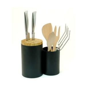 Čierny blok na nože a kuchynské náčinie Wireworks Knife&Spoon