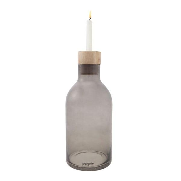 Váza/svietnik Bottle 25,5 cm, sivá