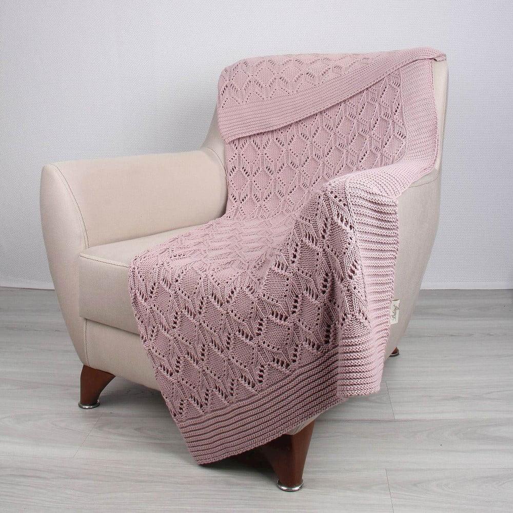 Ružová bavlnená deka Cotton, 170 × 130 cm
