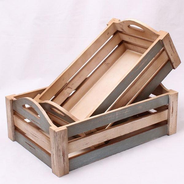 Sada drevených prepraviek Country, 2 ks