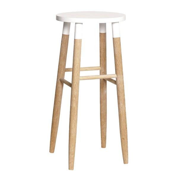 Dubová barová stolička s bielym sedákom Hübsch Rain