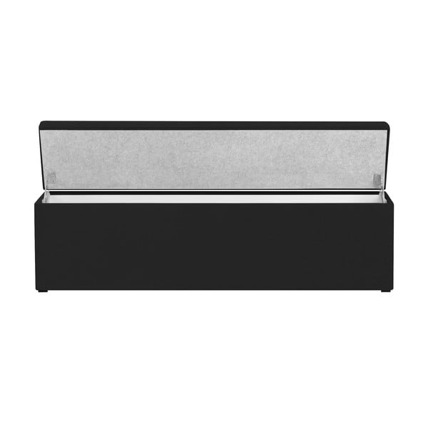 Čierny otoman s úložným priestorom Cosmopolitan Design LA, 180 x 47 cm