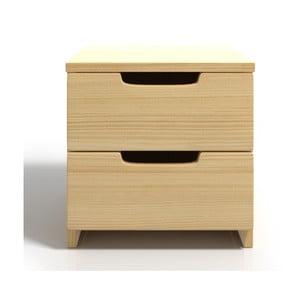 Nočný stolík z borovicového dreva s 2 zásuvkami SKANDICA Spectrum