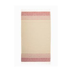 Ružovobiela hammam osuška z bavlnených a bambusových vlákien Begonville Fancy, 180×95 cm