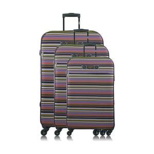 Sada 3 pásikavých cestovných kufrov na kolieskach INFINITIF Love