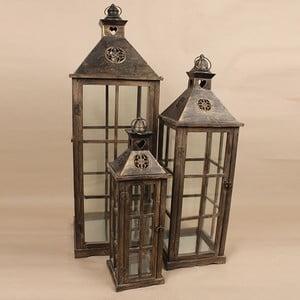 Sada 3 drevených lampášov Dakls Vintage Black