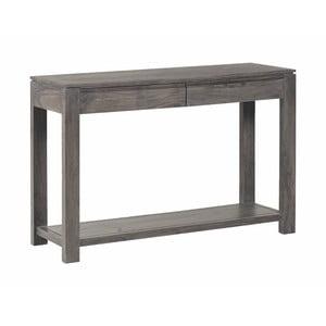 Konzolový stolík zmasívneho sivo moreného akáciového dreva s 2 zásuvkami Zara Simple
