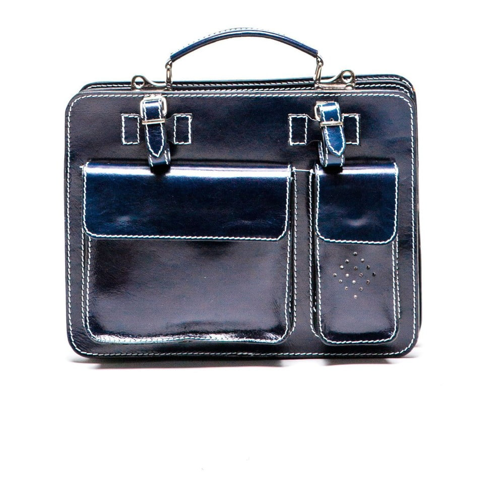 Tmavomodrá kožená kabelka Luisa Vannini Gianna