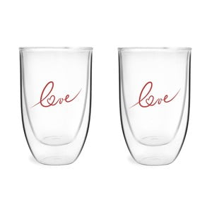 Sada 2 pohárov z dvojitého skla s potlačou Love Vialli Design, 350 ml