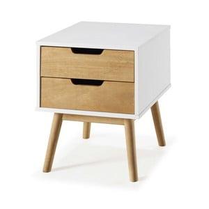 Biely nočný stolík zborovicového dreva SOB Van