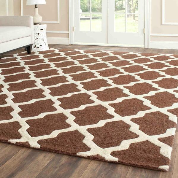 Vlnený koberec Safavieh Ava, 121x182 cm, hnedý