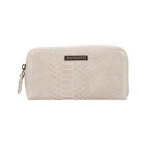 Sivo-béžová kožená listová kabelka Mangotti Bags Zuna
